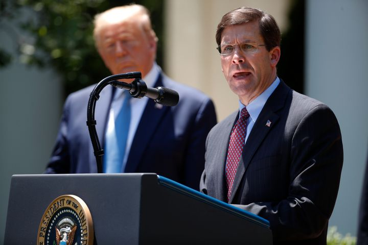 Defense Secretary Mark Esper speaking during a May 15 press briefing about the coronavirus. President Donald Trump announced