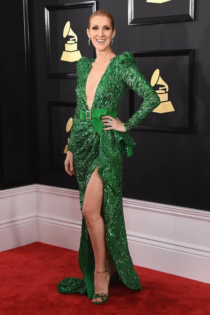 Céline Dion portant une robe Zuhair Murad aux Grammy Awards 2017.