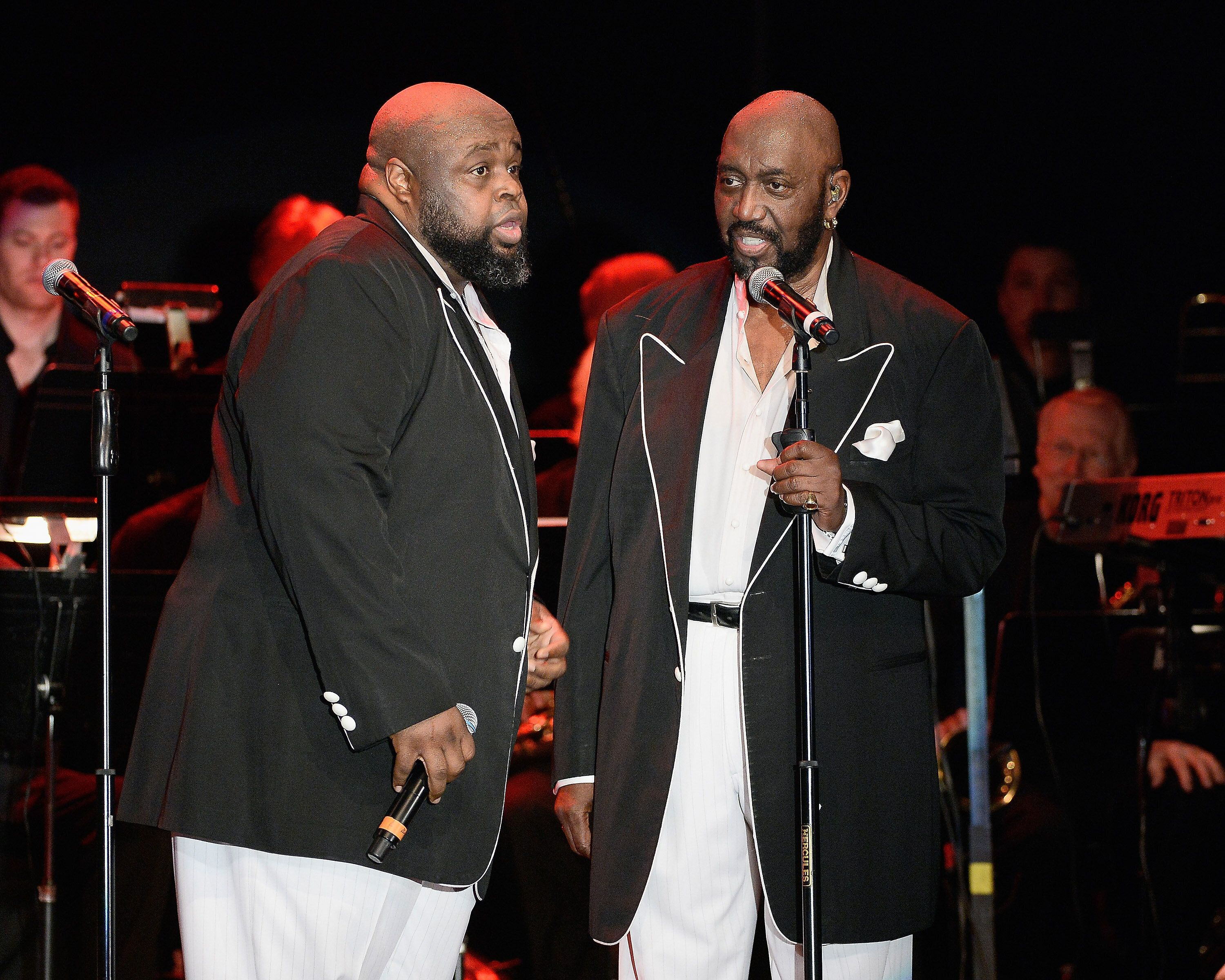 Musicians Bruce Williamson (L) and Otis Williams perform during The Temptations appearance at The Canyon Club on March 20, 2015 in Agoura Hills, California.