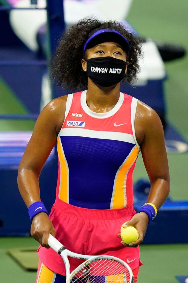 ニューヨークでの全米オープンテニス選手権で、「トレイボン・マーティン」と名前の入ったマスクを着用する大坂なおみ選手(2020年9月7日)