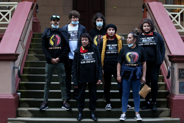 Leetona Dungay, family and supporters deliver a petition to NSW Parliament calling for immediate action and the investigation of Aboriginal deaths in custody including the death of David Dungay Jr on July 28, 2020 in Sydney, Australia. The rally was organised to protest against Aboriginal deaths in custody and in solidarity with the global Black Lives Matter movement.