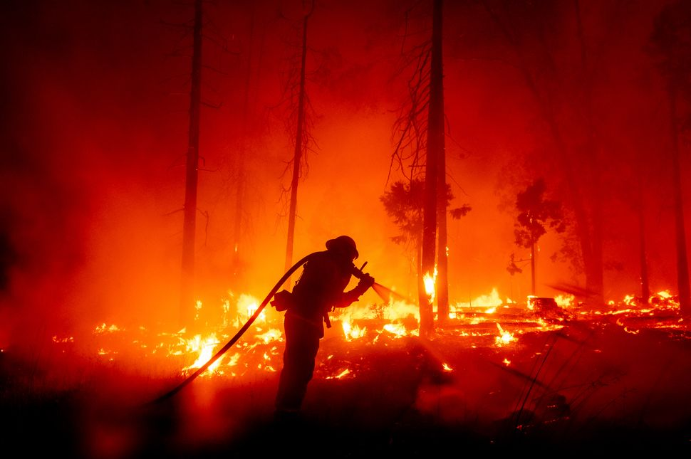 A firefighter battles the Creek Fire as it threatens homes in the Cascadel Woods neighborhood of Madera County, California on