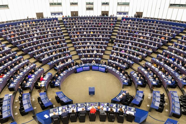 dpatop - 12 February 2020, France, Straßburg: Members of the European Parliament sit in the plenary chamber...