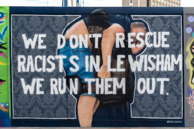 Lionel Stanhope's artwork in Lewisham, based on a photo taken by Reuters photographer Dylan Martinezof...