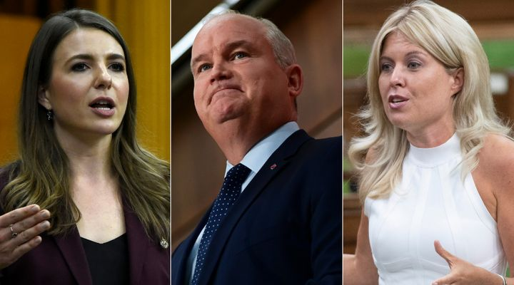 Conservative MP Raquel Dancho, party leader Erin O'Toole, and Tory MP Michelle Rempel Garner are shown in a composite of images from The Canadian Press.