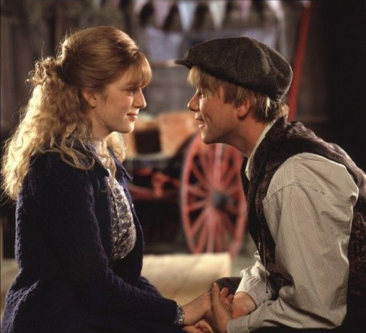 "Sarah Polley and Jaimz Woolvett in ""Road to Avonlea."" Their characters had a kissing scene when Polley was 14 and Woolvett was 26."
