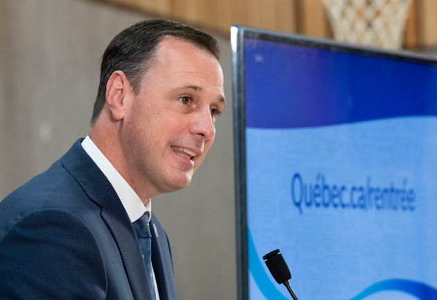 Quebec Education Minister Jean-Francois Roberge announces measures for the back to school program on...