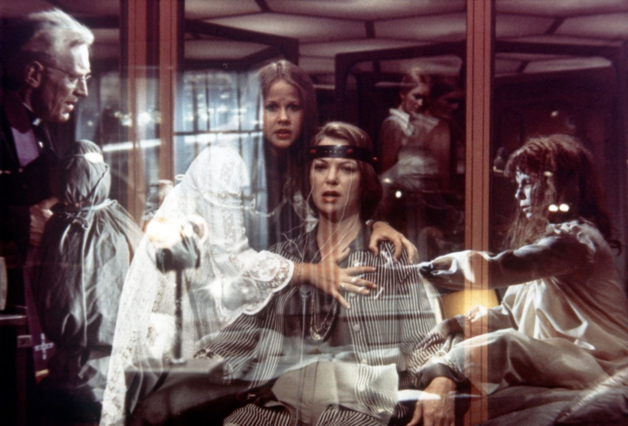 """Max von Sydow, Linda Blair and Fletcher in """"Exorcist II: The Heretic."""""""