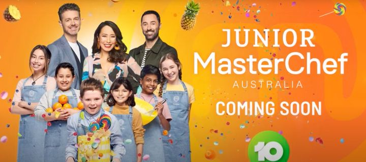 'Junior MasterChef Australia' judges Jock Zonfrillo, Melissa Leong and Andy Allen with contestants