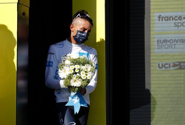 A l'arrivée de la dixième étape du Tour de France, mardi 8 septembre, le Colombien...