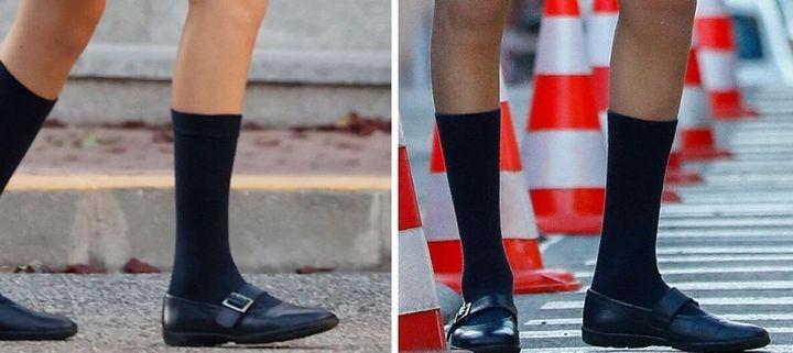 Los zapatos de la princesa Leonor en 2020 y en 2019.