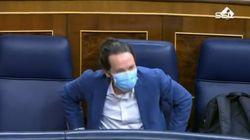 La expresiva reacción de Pablo Iglesias tras lo que acaba de decir Santiago Abascal en el