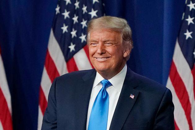 Trump, muy sonriente en Carolina del Norte el 24 de agosto de 2020 (Chris Carlson-Pool/Getty
