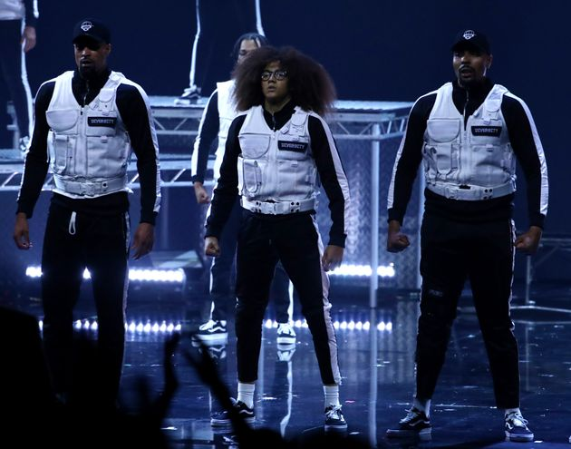 Diversity members Ashley Banjo, Perri Kiely and Jordan Banjo on stage during their BGT
