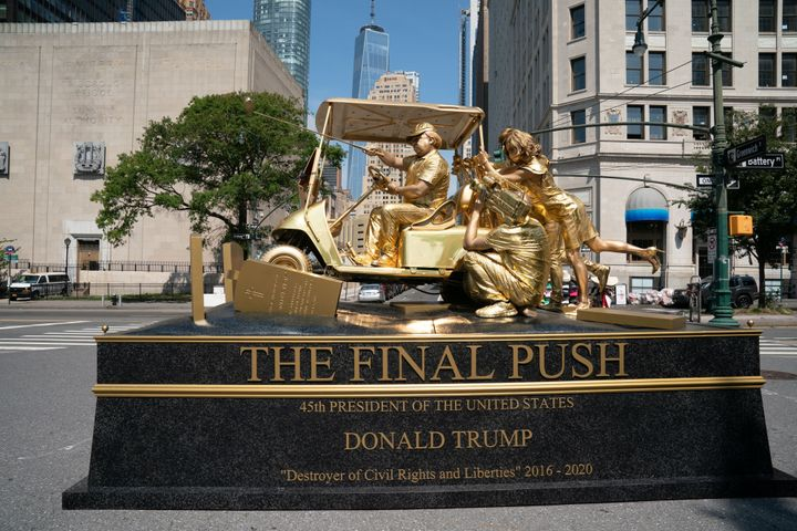 The Trump Statue Initiative put on this performance art piece that criticized the president's handling of the coronavirus pan