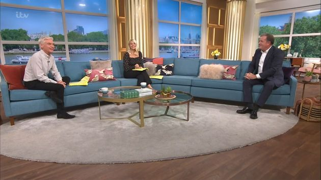 Phillip Schofield and Holly Willoughby interview Piers on the This Morning sofa