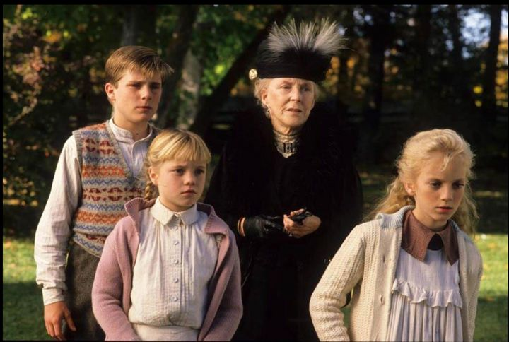 "Sarah Polley, right, with co-stars Joel Blake, Harmony Cramp, and Doris Petrie in ""Road to Avonlea."""