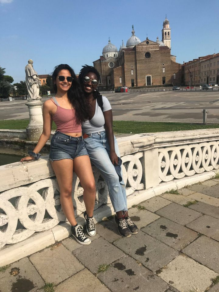 Monisha Gohil (left), 23, Digital PR at Datadial, from Hammersmith, West London, travelling with friends in Italy