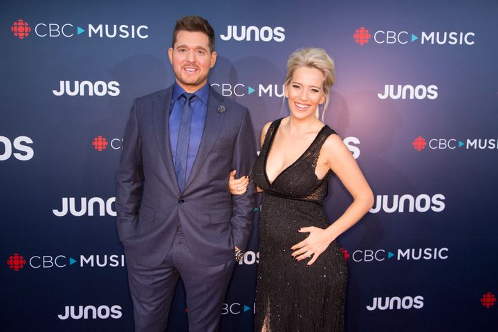 Bublé and Lopilato attend the red carpet arrivals at the 2018 Juno Awards on March 25, 2018, in Vancouver.