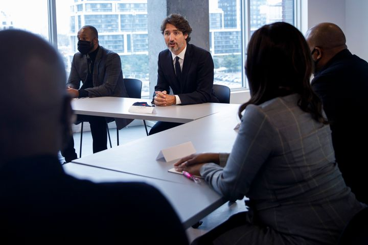 Prime Minister Justin Trudeau attends a meeting with Black entrepreneurs in Toronto on Wednesday. The prime minister says the coronavirus pandemic has put a spotlight on equality in Canada.
