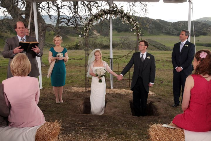 Michael Scott took over as Dwight Schrute's best man for his wedding to Angela Martin.
