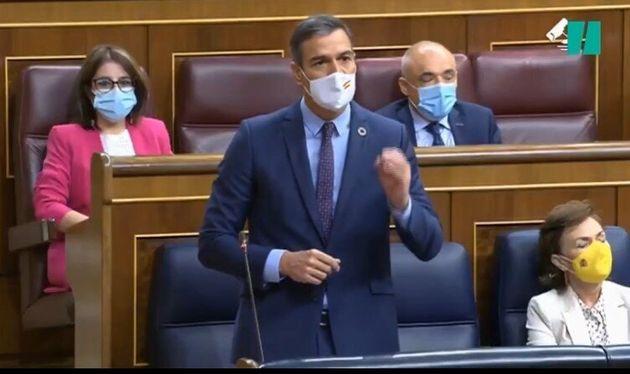 Mascarilla de Pedro Sánchez este miércoles en el