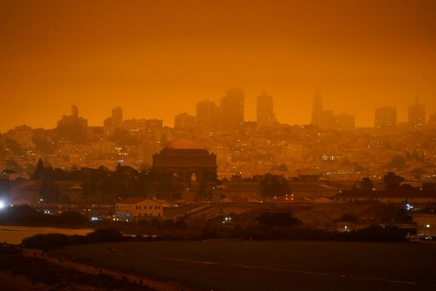 The skyline in the distance behind Crissy Field is barely visible with smoke from wildfires late Wednesday