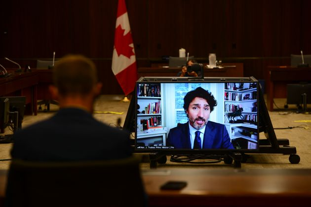 Prime Minister Justin Trudeau appears as a witness via videoconference during a House of Commons finance...