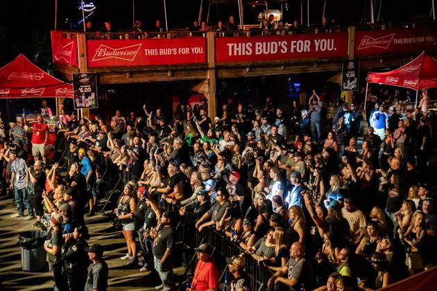 Concertgoers attend a performance by Saul at the Iron Horse Saloon on Aug. 14, 2020, during the...
