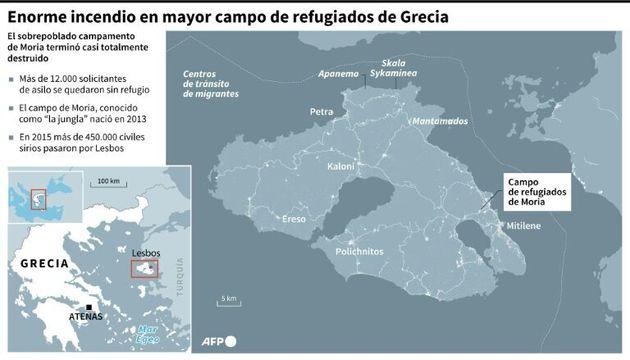 Enorme incendio en mayor campo de refugiados de