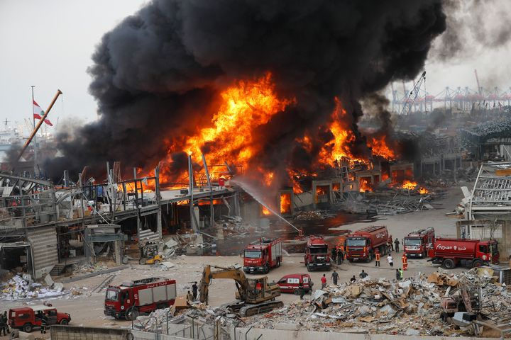 Fire burns in the port in Beirut, Lebanon, Thursday, Sept. 10. 2020. (AP Photo/Hussein Malla)
