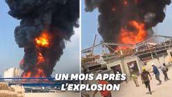 Un énorme incendie au port de Beyrouth, quelques semaines après les explosions