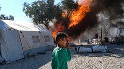 Nuevos incendios consumen las ruinas del campo de refugiados de