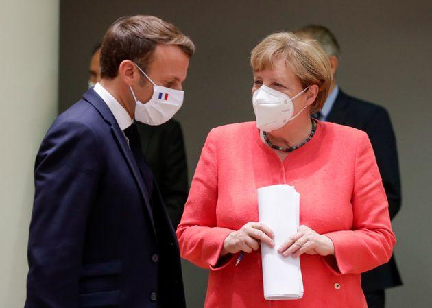 Emmanuel Macron et Angela Merkel, ici à Bruxelles en Belgique, le 21 juillet