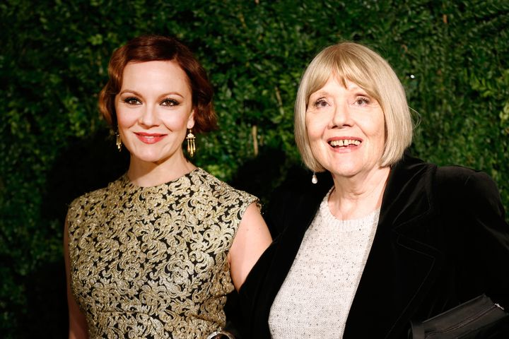 Rachael Stirling and Diana Rigg at the 60th London Evening Standard Theatre Awards in 2014.
