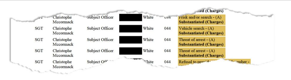 Substantiated allegations against McCormack in the CCRB complaint. (Highlight added by ProPublica.)