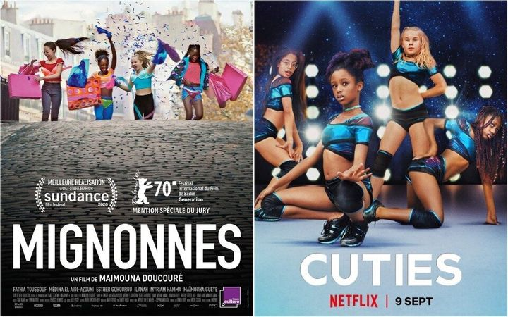 "The original French poster of ""Cuties"" (left) versus the poster first used for the film's Netflix release."