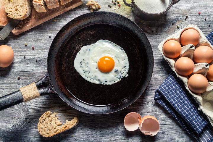 Nonstick pans are great for preparing that breakfast essential –– fried eggs.