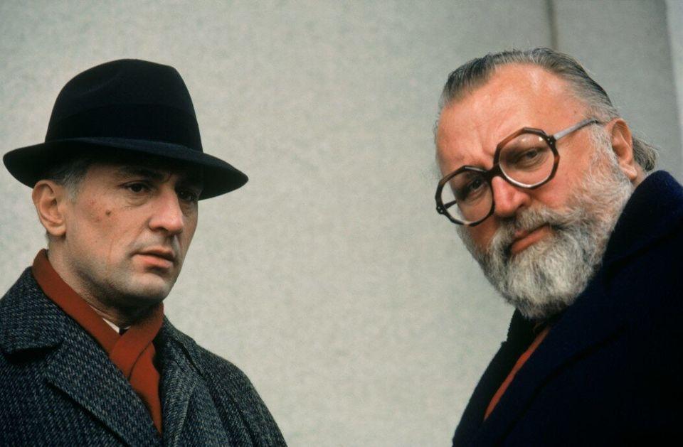 Robert De Niro e Sergio Leone nas filmagens de