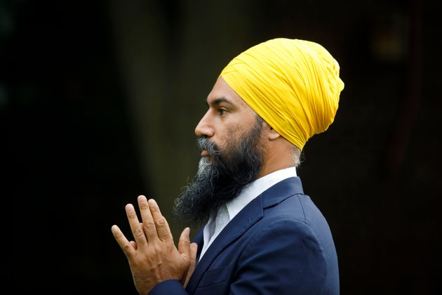 NDP Leader Jagmeet Singh speaks during a press conference in Toronto on Aug. 26,