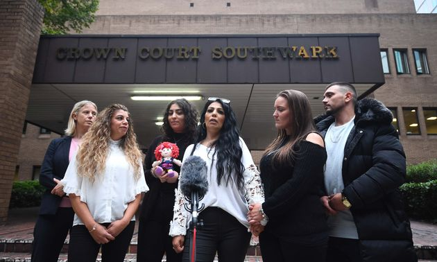 Relatives of Jan outside court after Younis was jailed, including her cousin Ayse Hussein and sister Mel Mustafa in the foreground