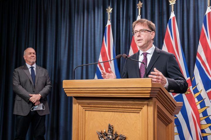 Premier John Horgan and Adrian Dix, Minister of Health, make an announcement about B.C.'s fall pandemic preparedness plan on Sept. 9, 2020.