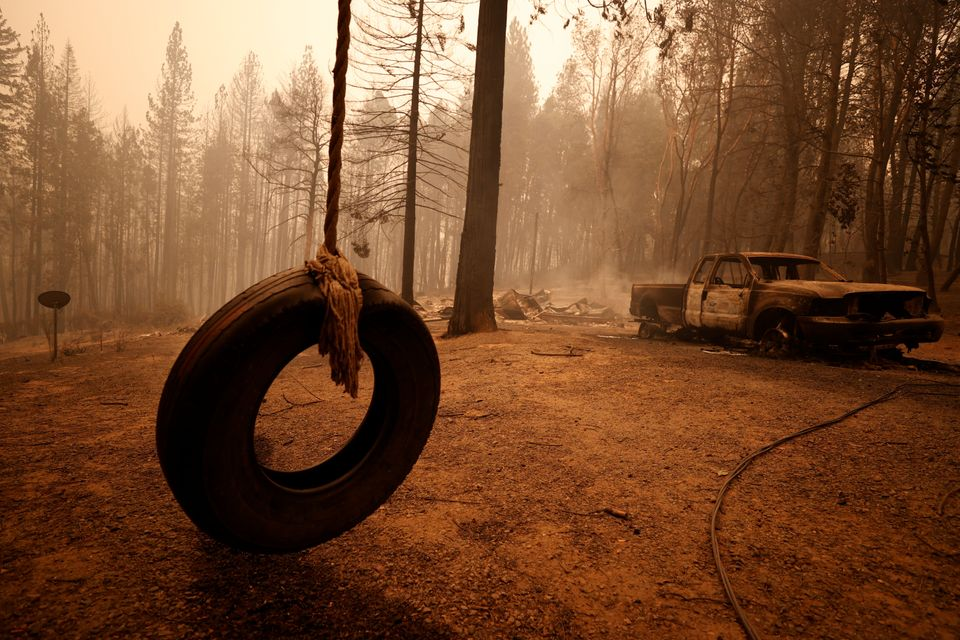 Devastation from the Bear fire in Berry Creek, California, is shown on