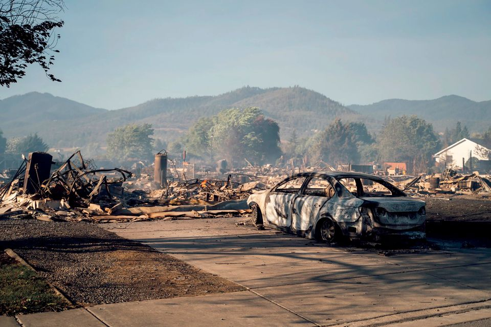 This photo taken by Talent, Oregon, resident Kevin Jantzer shows the destruction of his hometown Wednesday...
