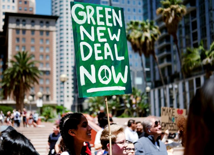 Climate change activists rally in support of the Green New Deal in Los Angeles' Pershing Square on May 24, 2019.