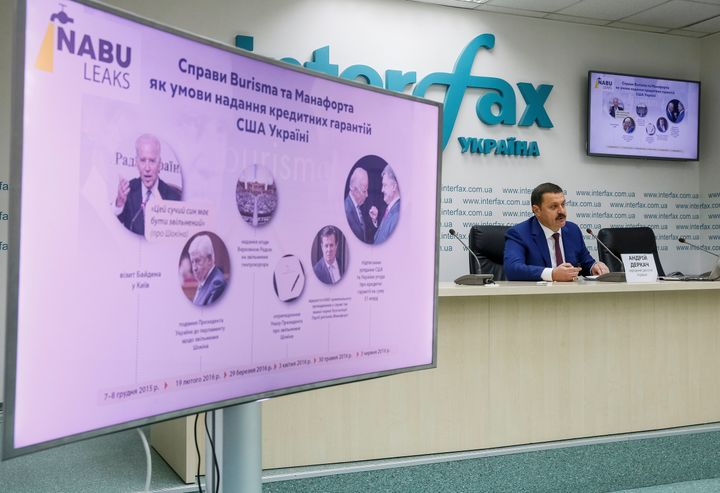 """Ukrainian lawmaker Andriy Derkach attends a news conference titled """"Publication of facts of pressure of U.S. Embassy on Ukrai"""