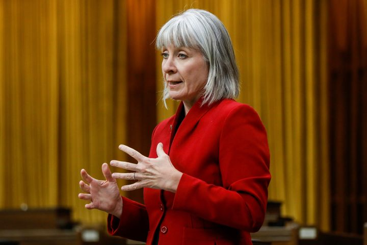 Minister of Health Patty Hajdu speaks in parliament in May.