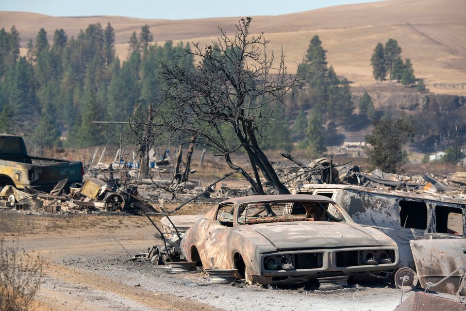 Vehicles are destroyed by a wildfire that swiftly moved through Maldin, Washington, on