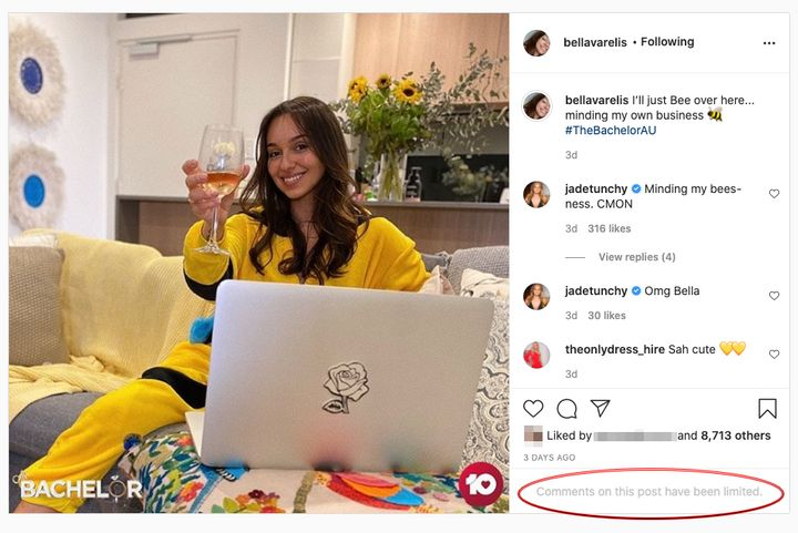 'The Bachelor Australia's Bella Varelis has limited comments on her Instagram account