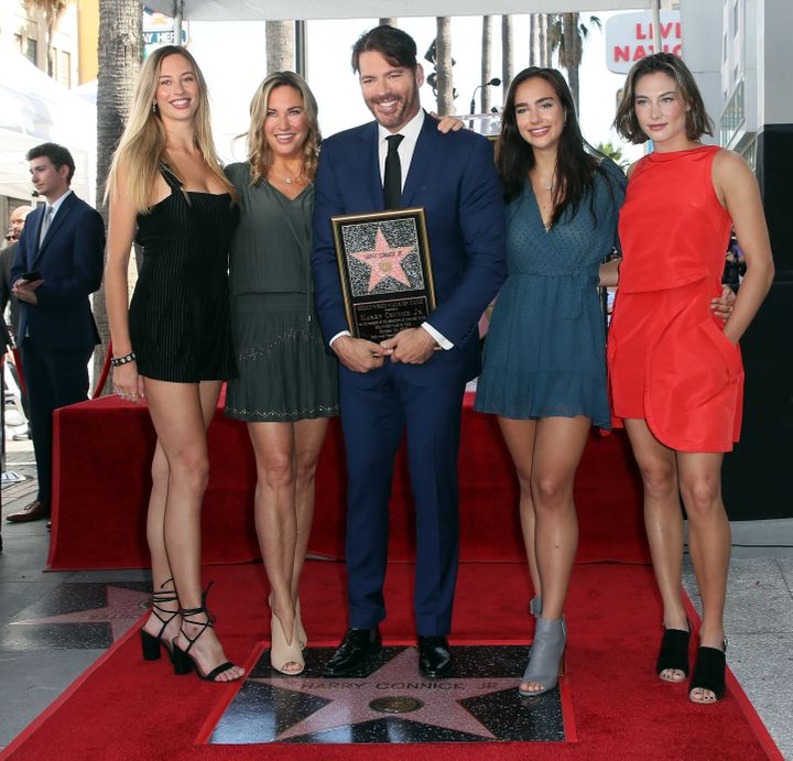 Georgia Tatum Connick, Jill Goodacre, Harry Connick Jr., Charlotte Connick and Sarah Kate Connick attend the singer's Hollywood Walk of Fame ceremony on Oct. 24, 2019.